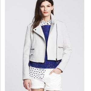 BANANA REPUBLIC White Scuba Moto Jacket Women's 14